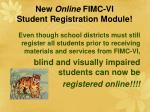 new online fimc vi student registration module