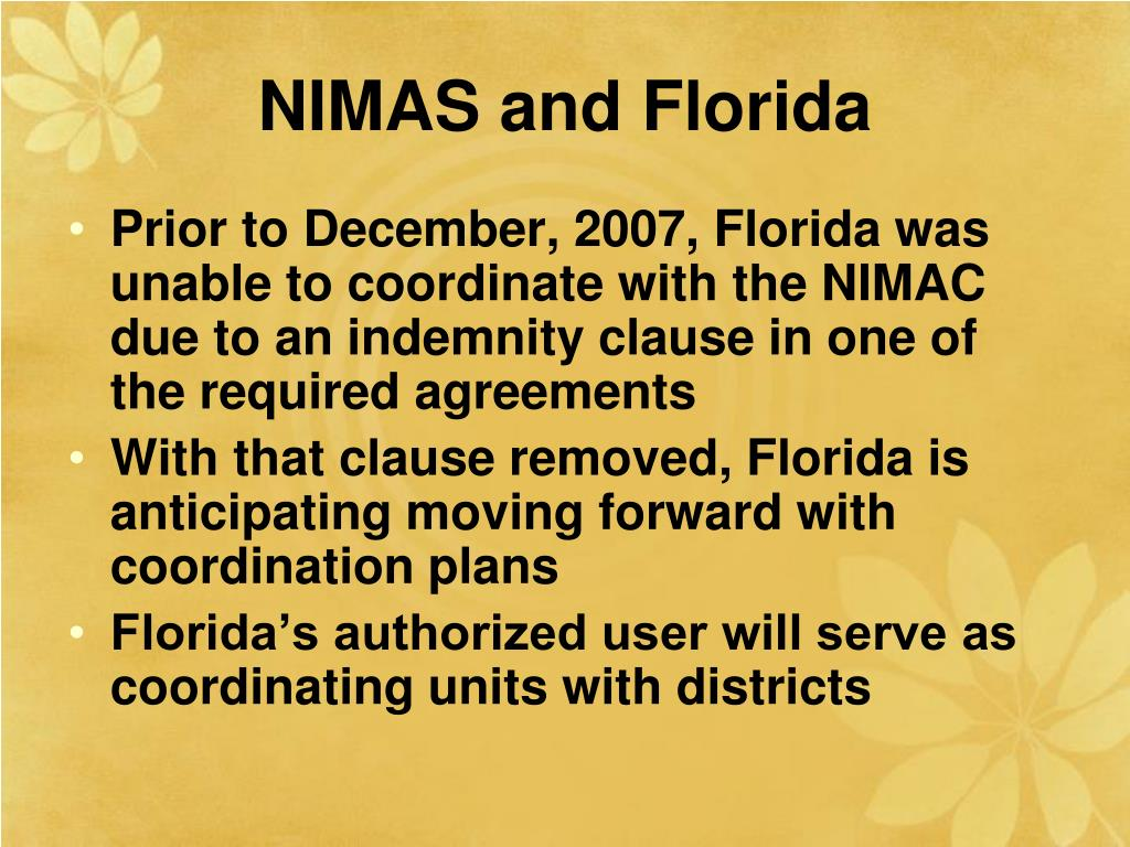 NIMAS and Florida