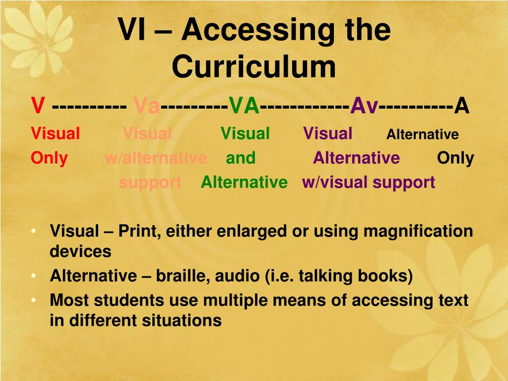 VI – Accessing the Curriculum