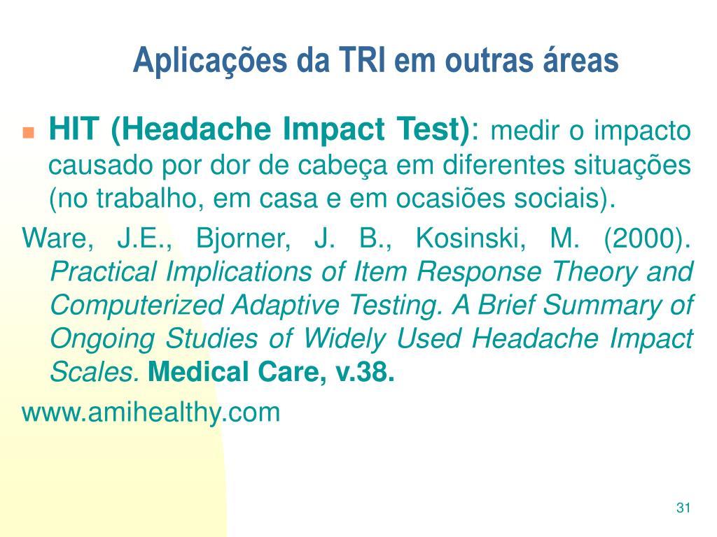 Aplicações da TRI em outras áreas