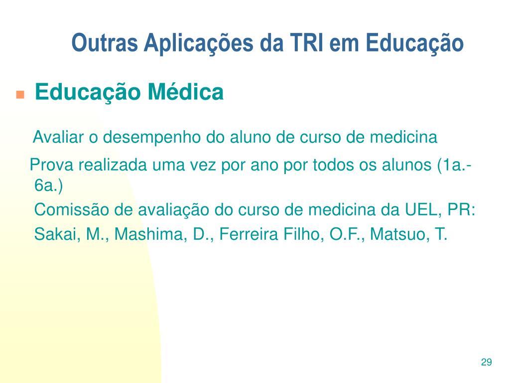 Outras Aplicações da TRI em Educação