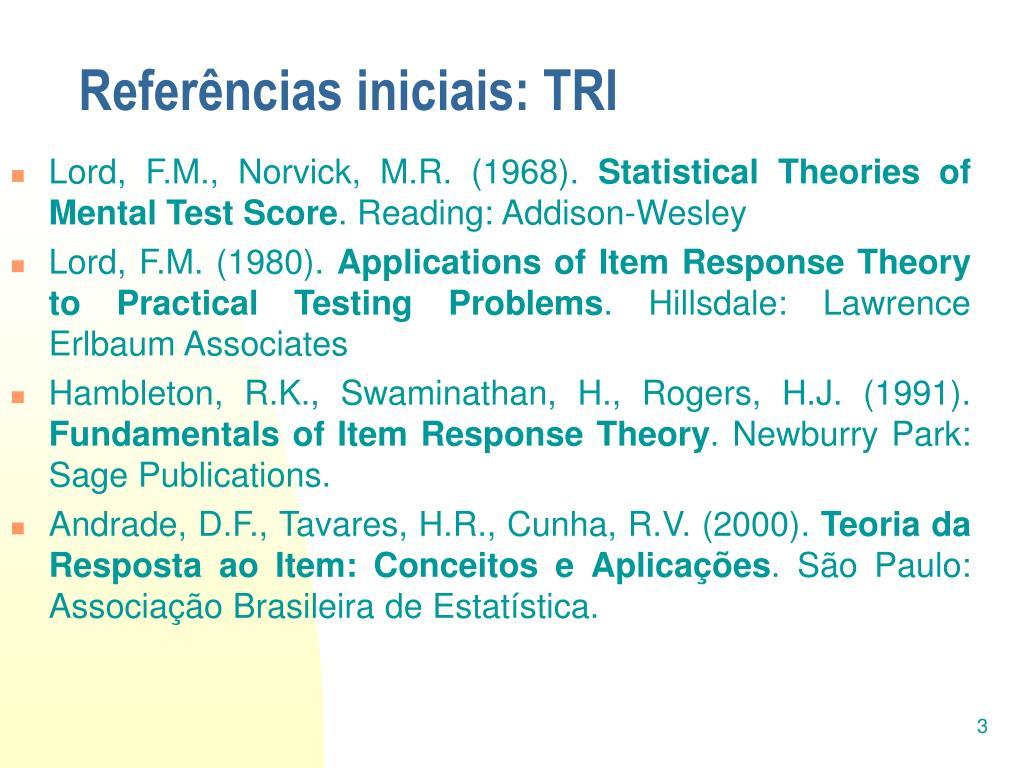 Referências iniciais: TRI
