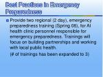best practices in emergency preparedness