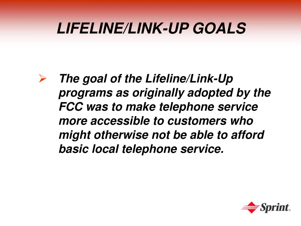 LIFELINE/LINK-UP GOALS