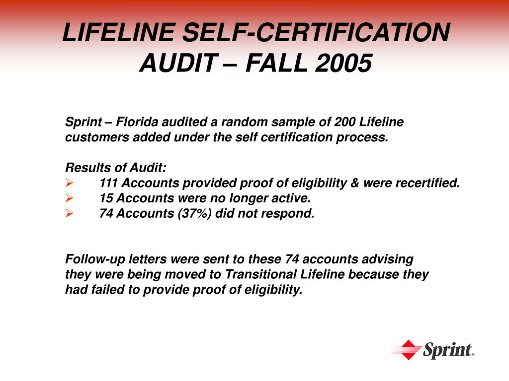 LIFELINE SELF-CERTIFICATION