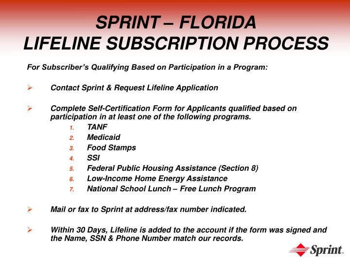 Sprint florida lifeline subscription process