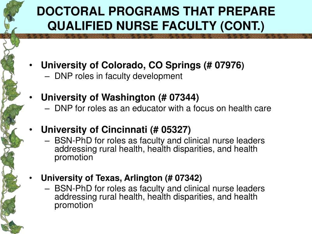 DOCTORAL PROGRAMS THAT PREPARE