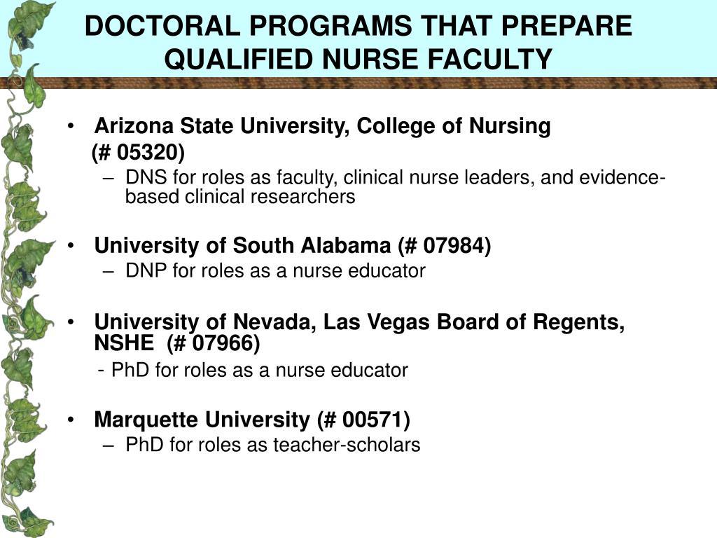 DOCTORAL PROGRAMS THAT PREPARE