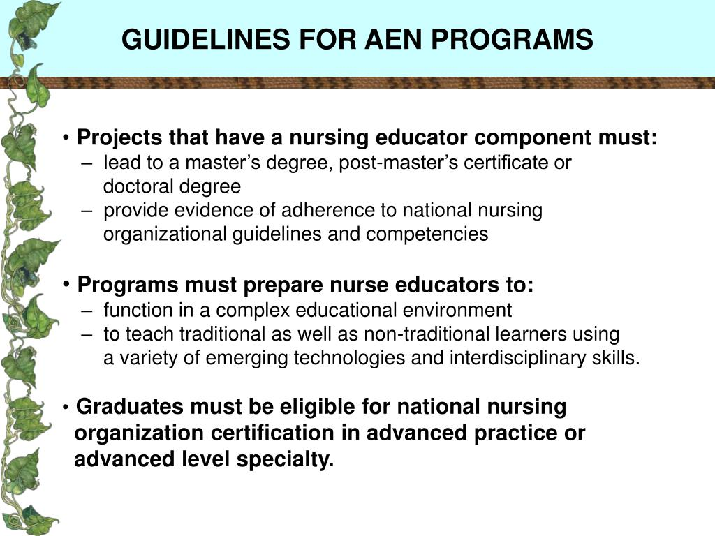 GUIDELINES FOR AEN PROGRAMS