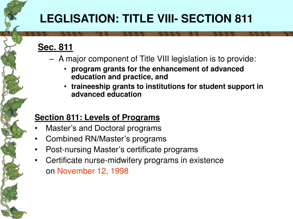 LEGLISATION: TITLE VIII- SECTION 811