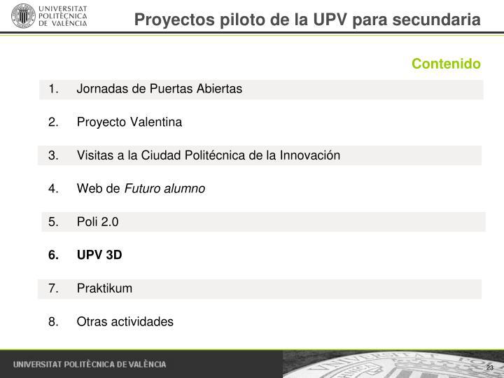 Proyectos piloto de la UPV para secundaria