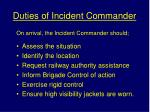 duties of incident commander