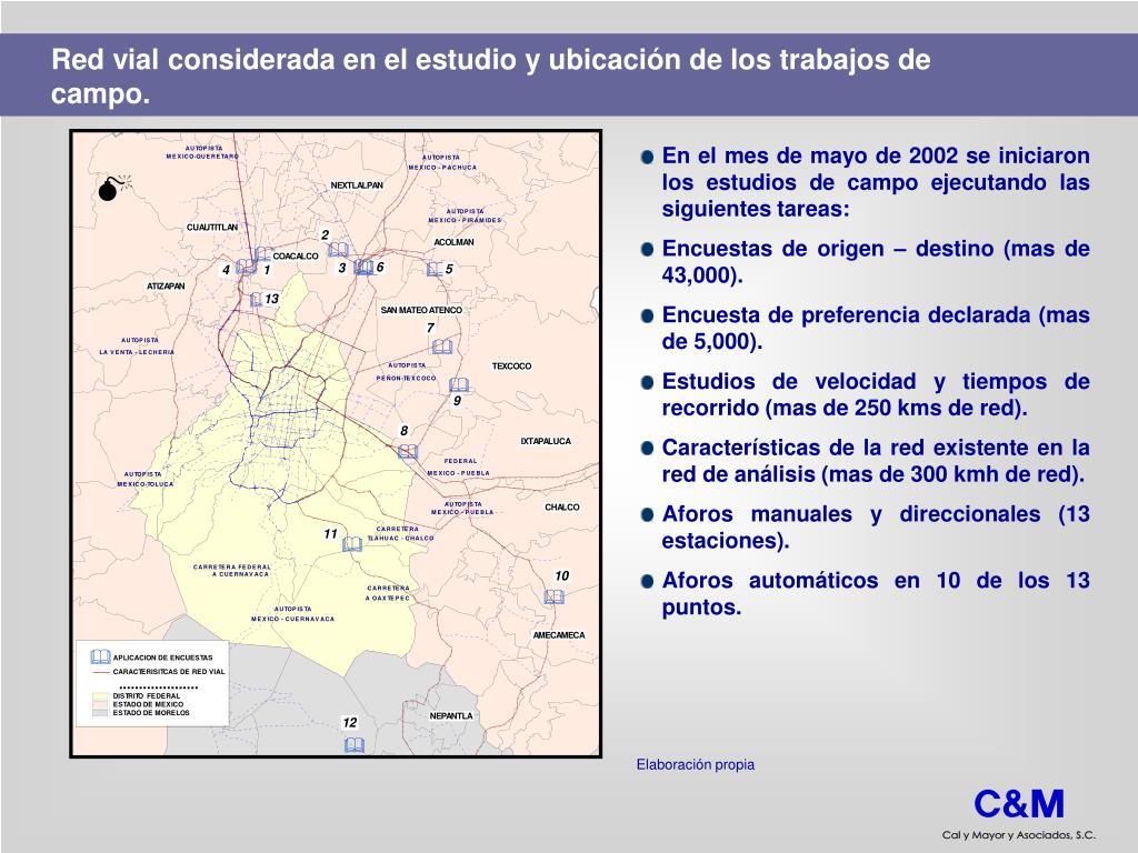 Red vial considerada en el estudio y ubicación de los trabajos de campo.