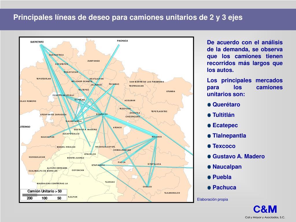 Principales líneas de deseo para camiones unitarios de 2 y 3 ejes