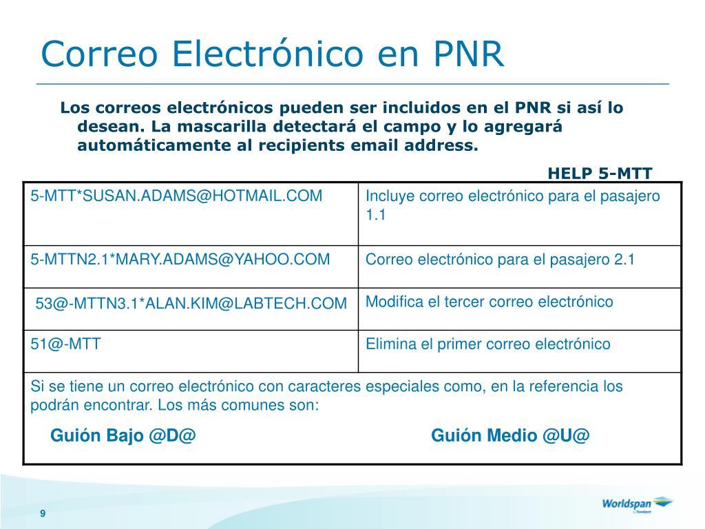 Correo Electrónico en PNR