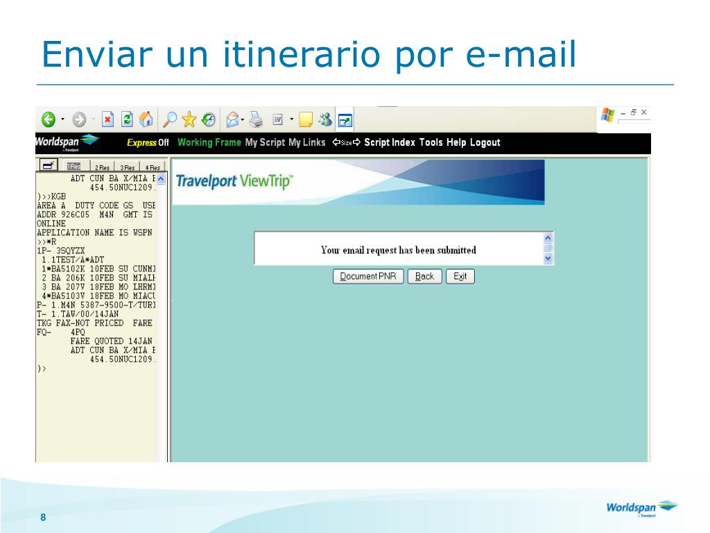 Enviar un itinerario por e-mail