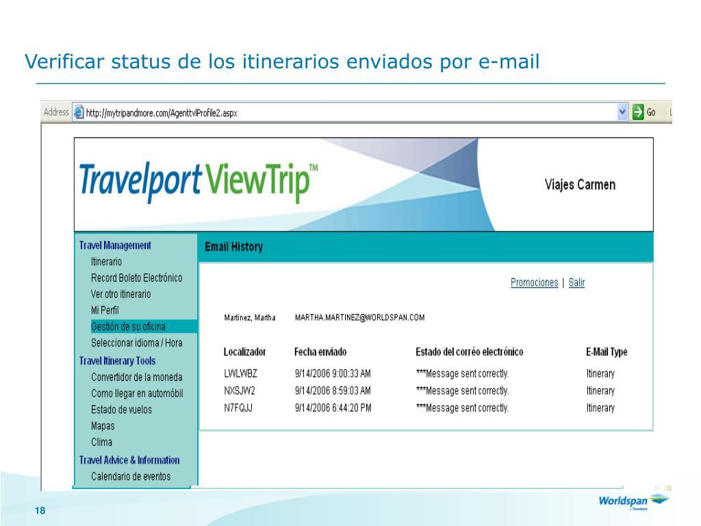 Verificar status de los itinerarios enviados por e-mail