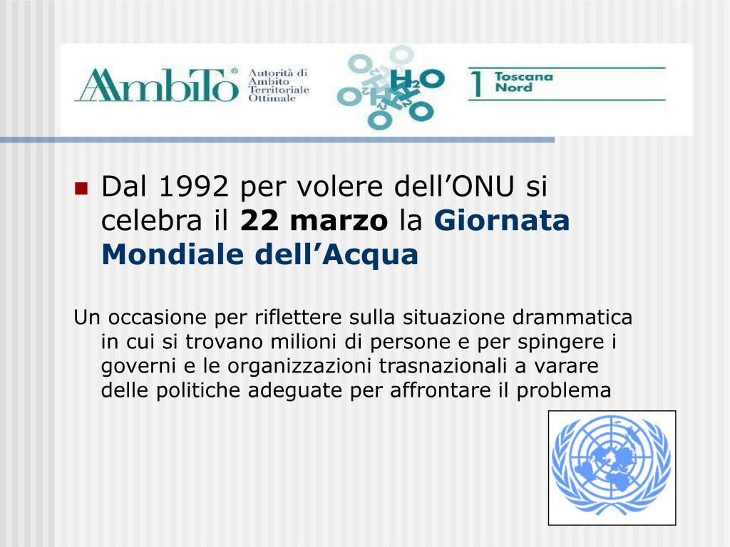 Dal 1992 per volere dell'ONU si celebra il