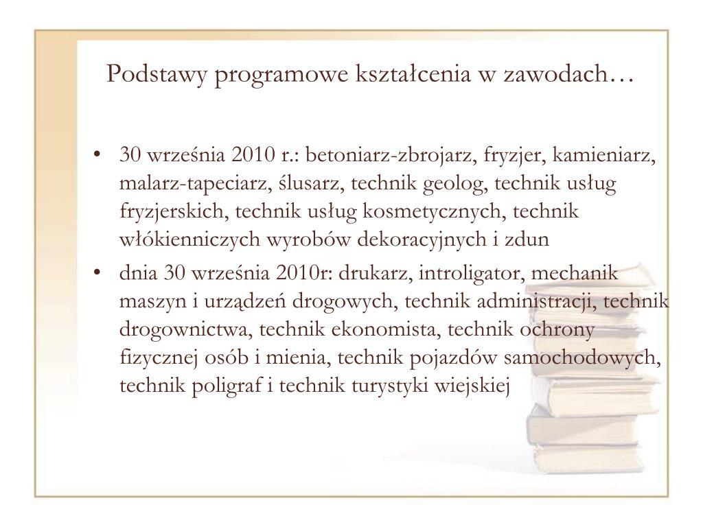 Podstawy programowe kształcenia w zawodach…