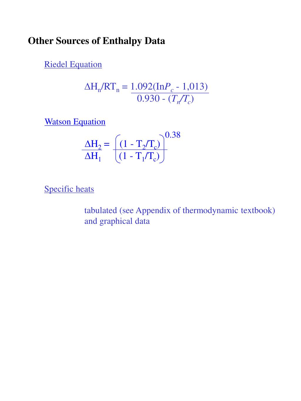 Riedel Equation