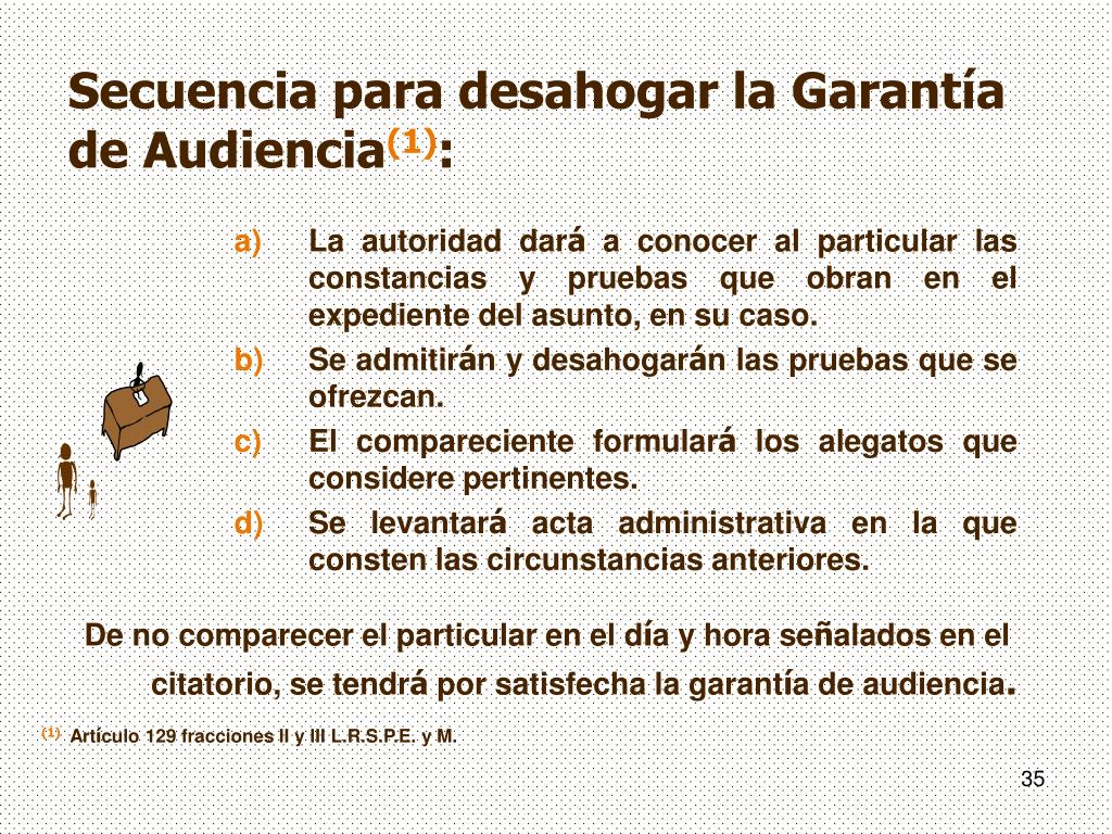 Secuencia para desahogar la Garantía de Audiencia