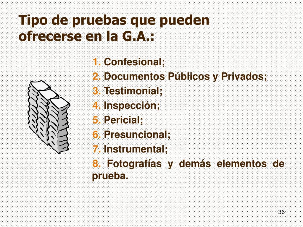 Tipo de pruebas que pueden ofrecerse en la G.A.: