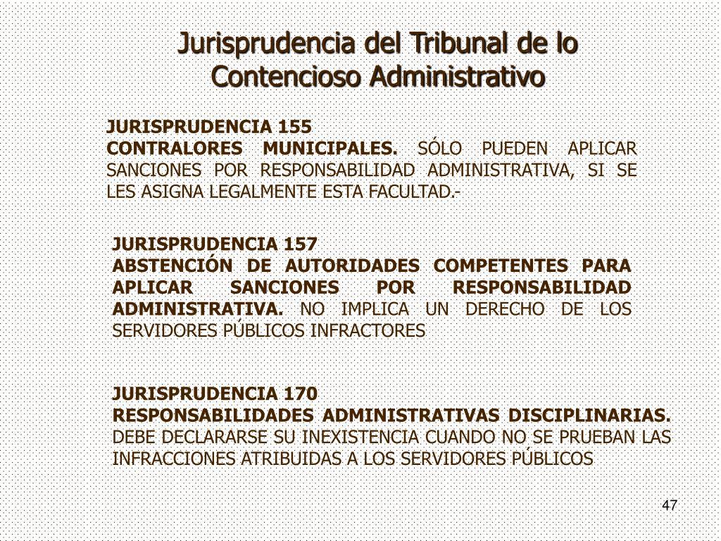 Jurisprudencia del Tribunal de lo Contencioso Administrativo