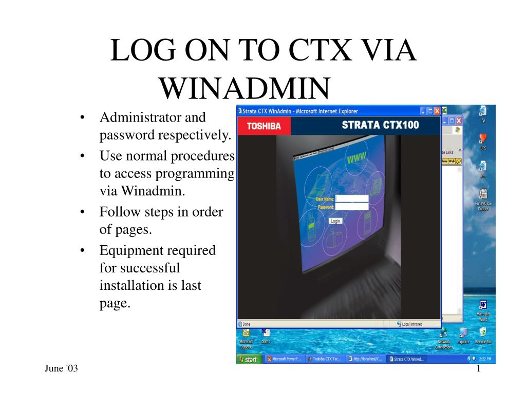 log on to ctx via winadmin
