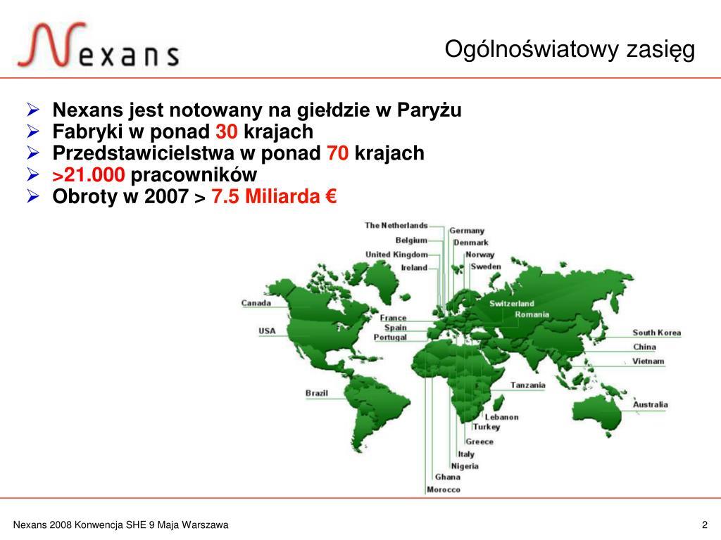 Nexans jest notowany na giełdzie w Paryżu