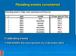flooding events considered