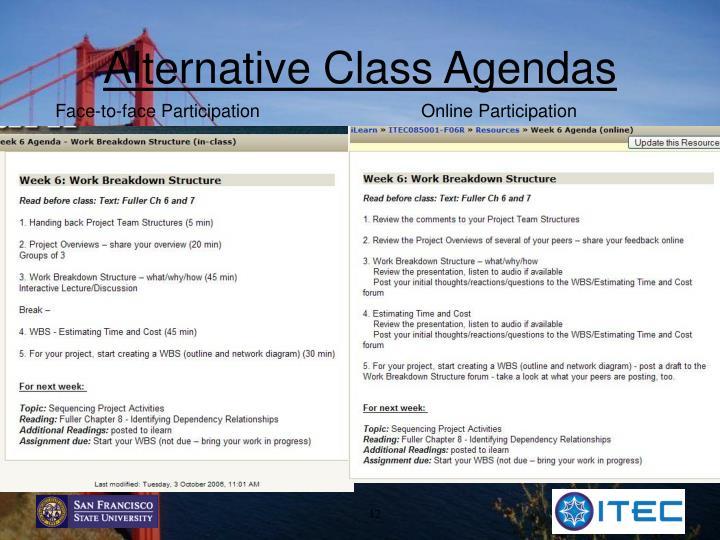 Alternative Class Agendas