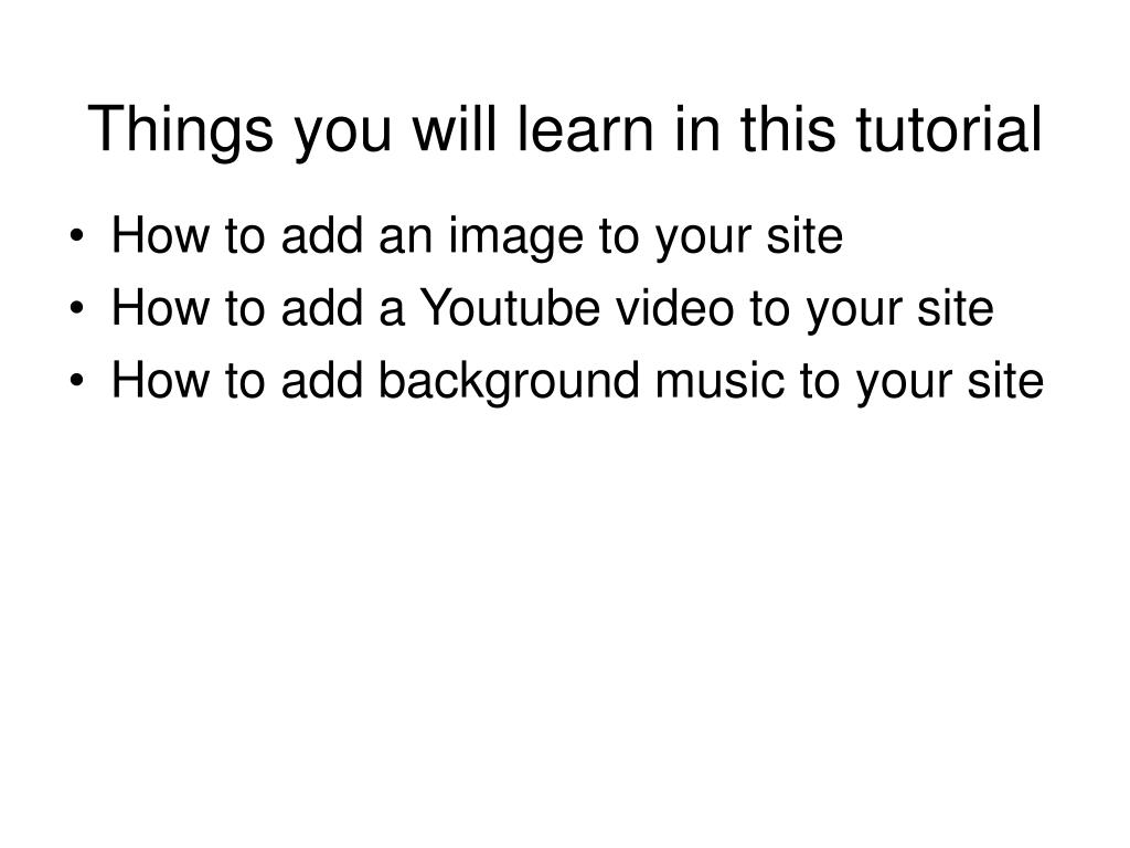 Things you will learn in this tutorial