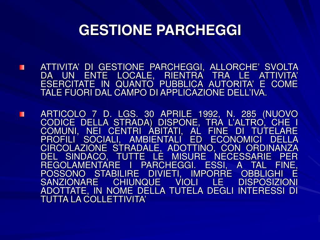GESTIONE PARCHEGGI