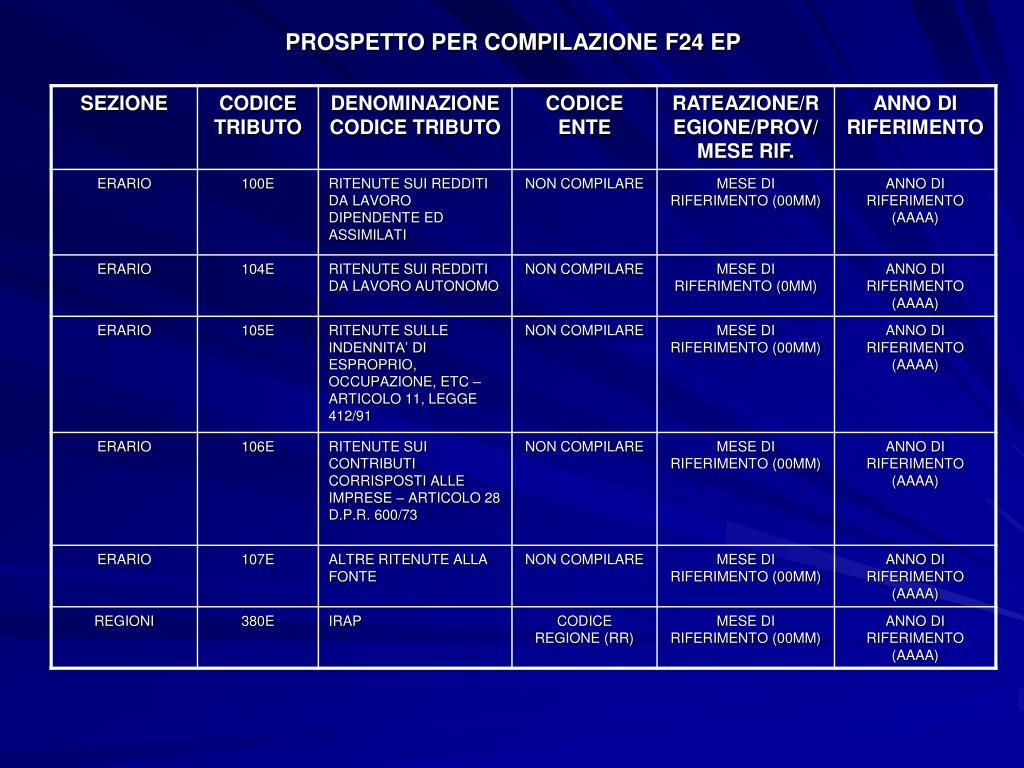 PROSPETTO PER COMPILAZIONE F24 EP