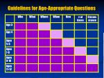 guidelines for age appropriate questions
