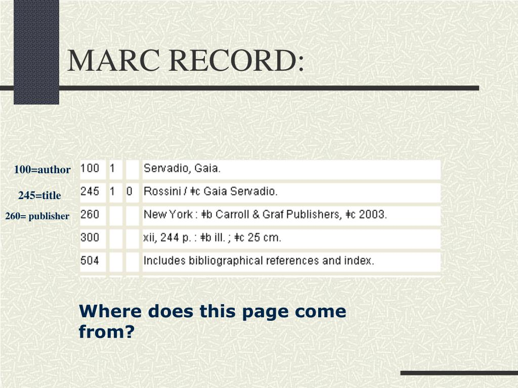 MARC RECORD: