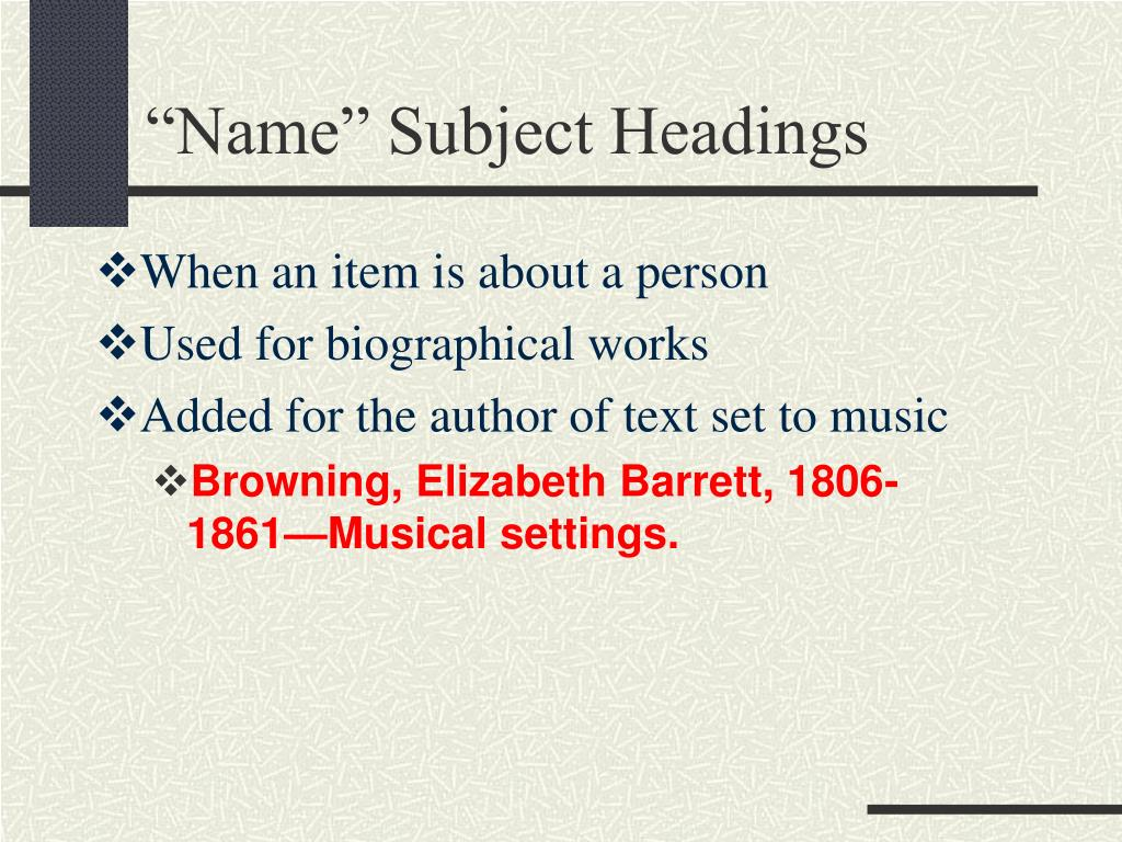 """Name"" Subject Headings"