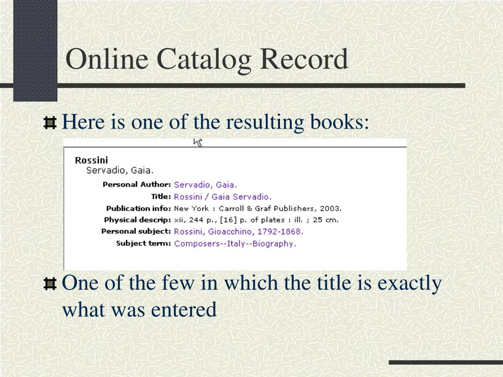 Online Catalog Record