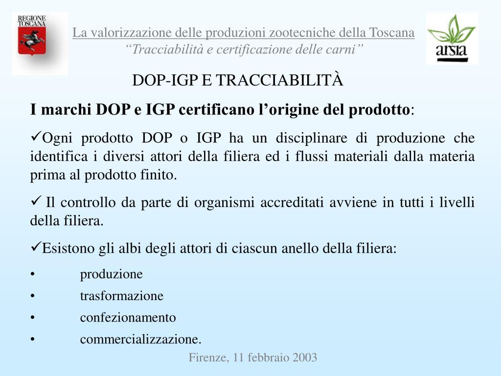 DOP-IGP E TRACCIABILITÀ