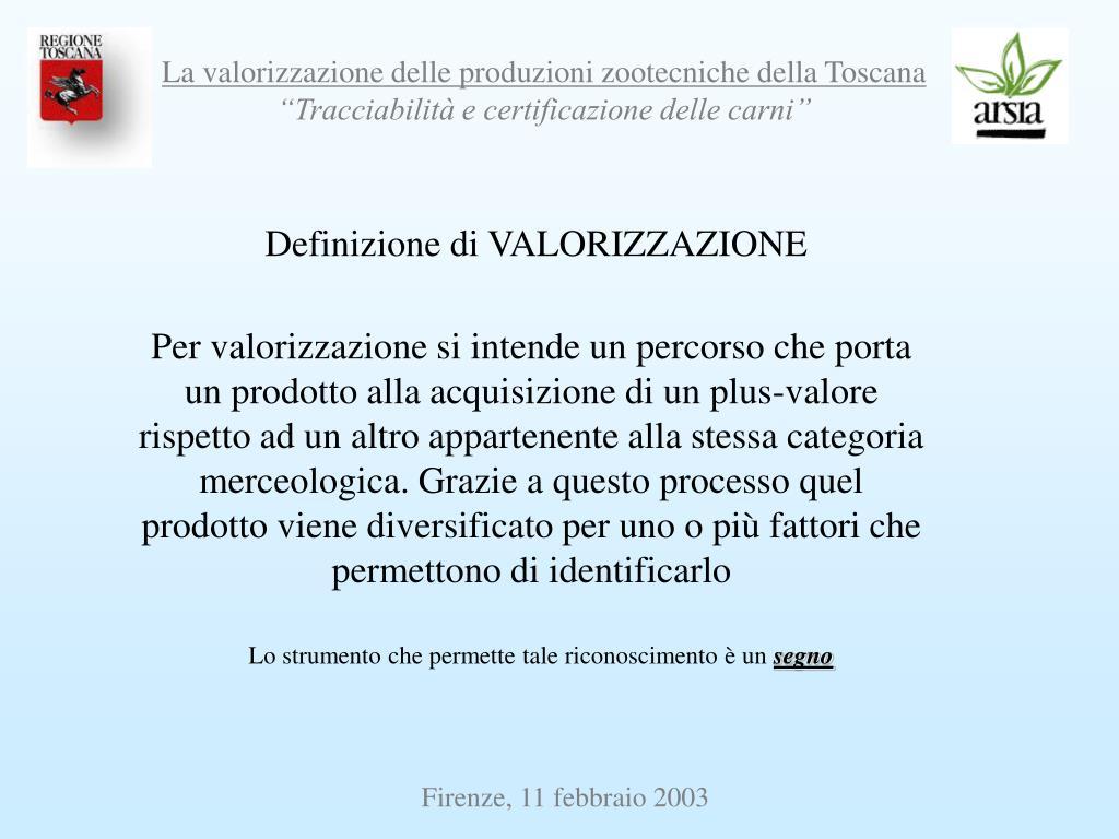 Definizione di VALORIZZAZIONE