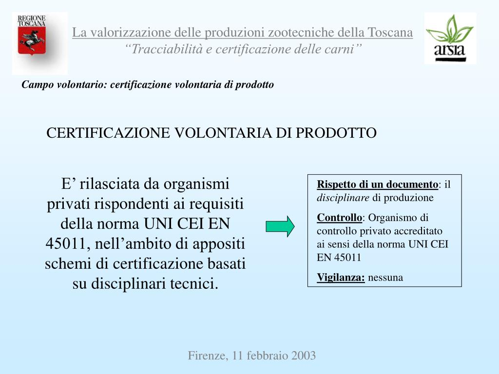 Campo volontario: certificazione volontaria di prodotto
