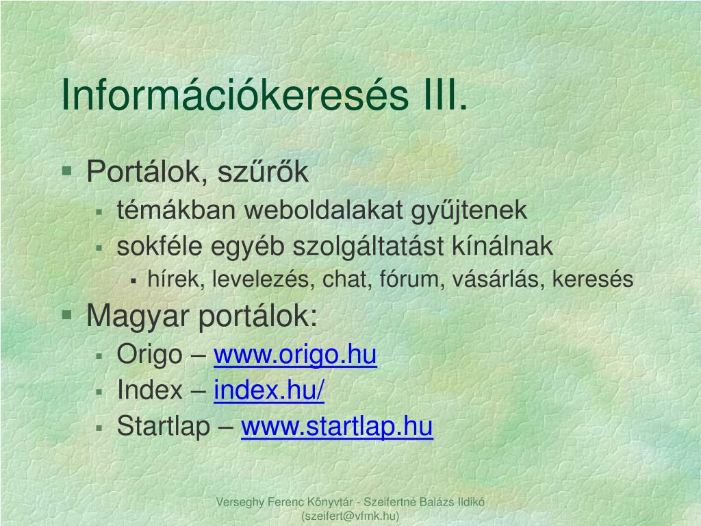 Információkeresés III.
