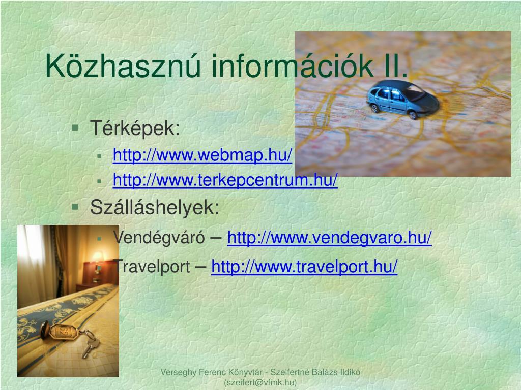 Közhasznú információk II.