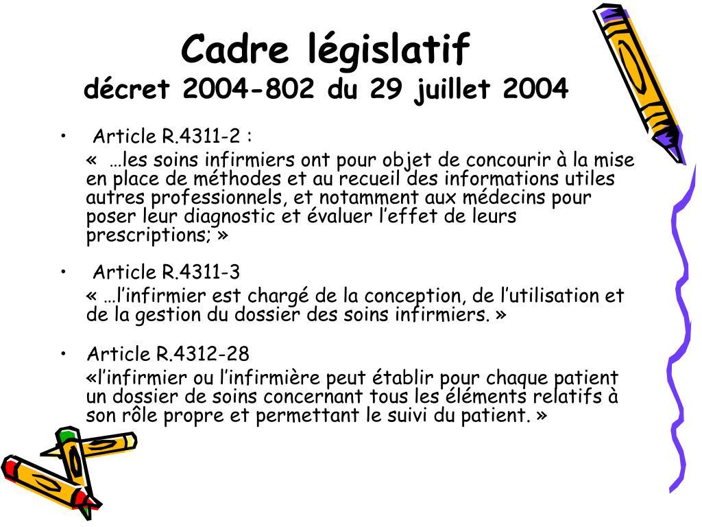 Cadre législatif