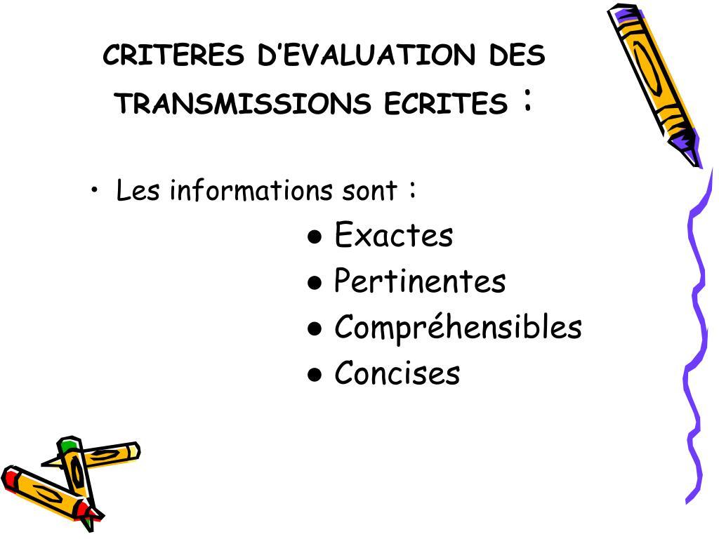 CRITERES D'EVALUATION DES TRANSMISSIONS ECRITES