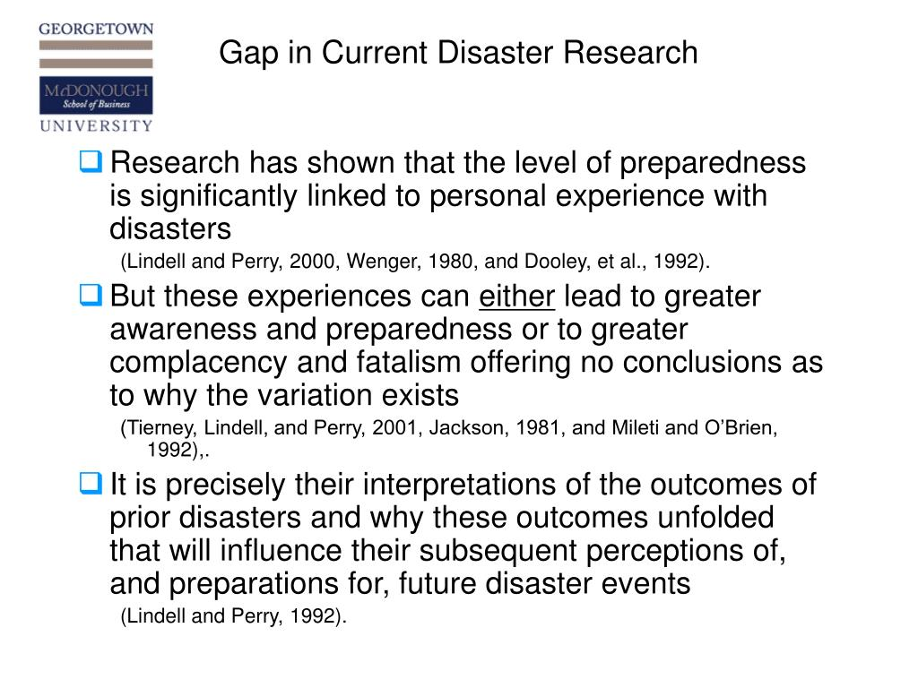 Gap in Current Disaster Research