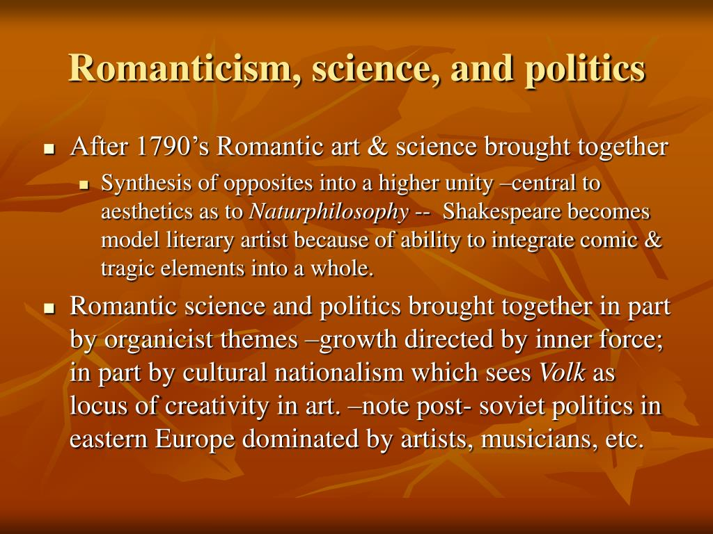 Romanticism, science, and politics