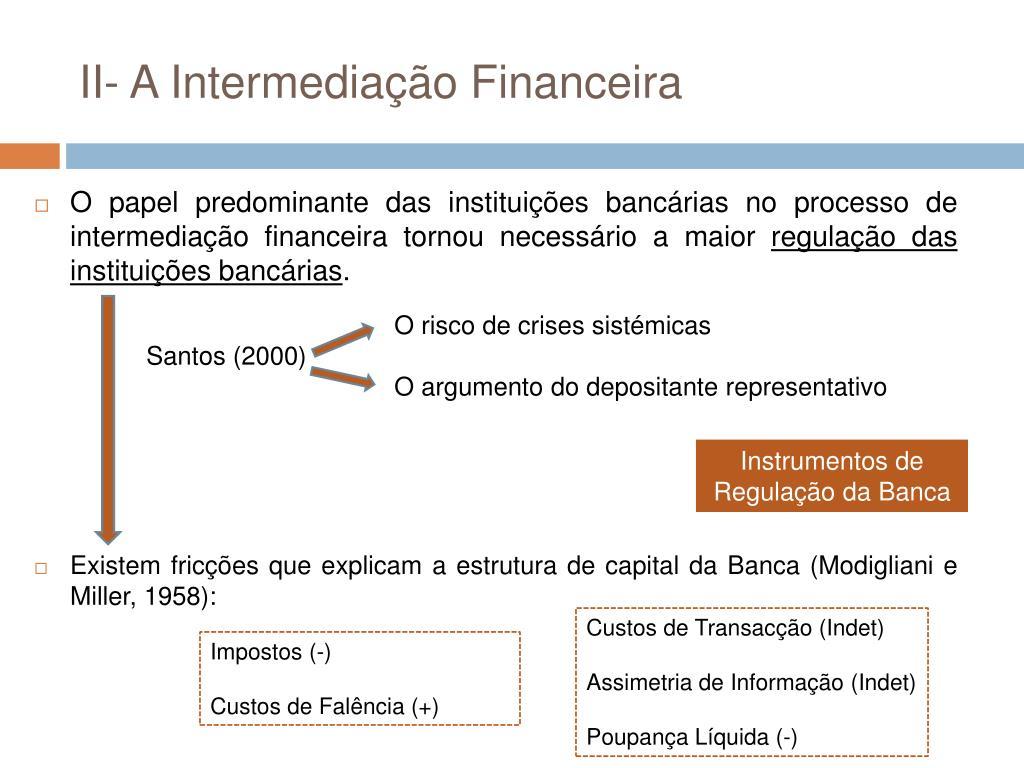 II- A Intermediação Financeira