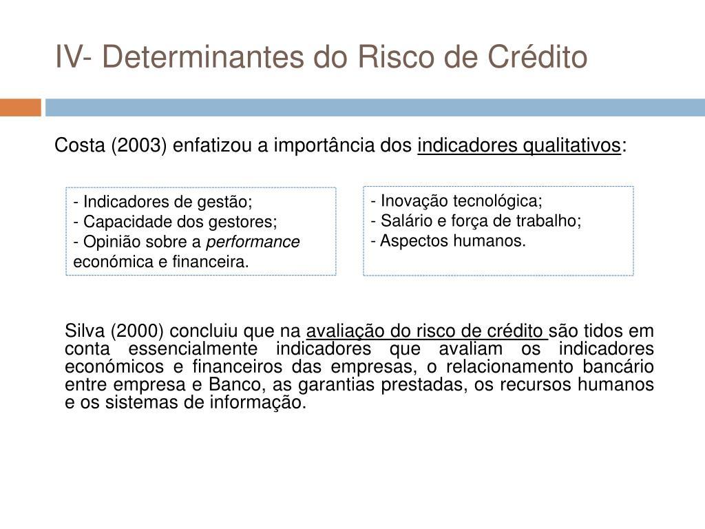 IV- Determinantes do Risco de Crédito