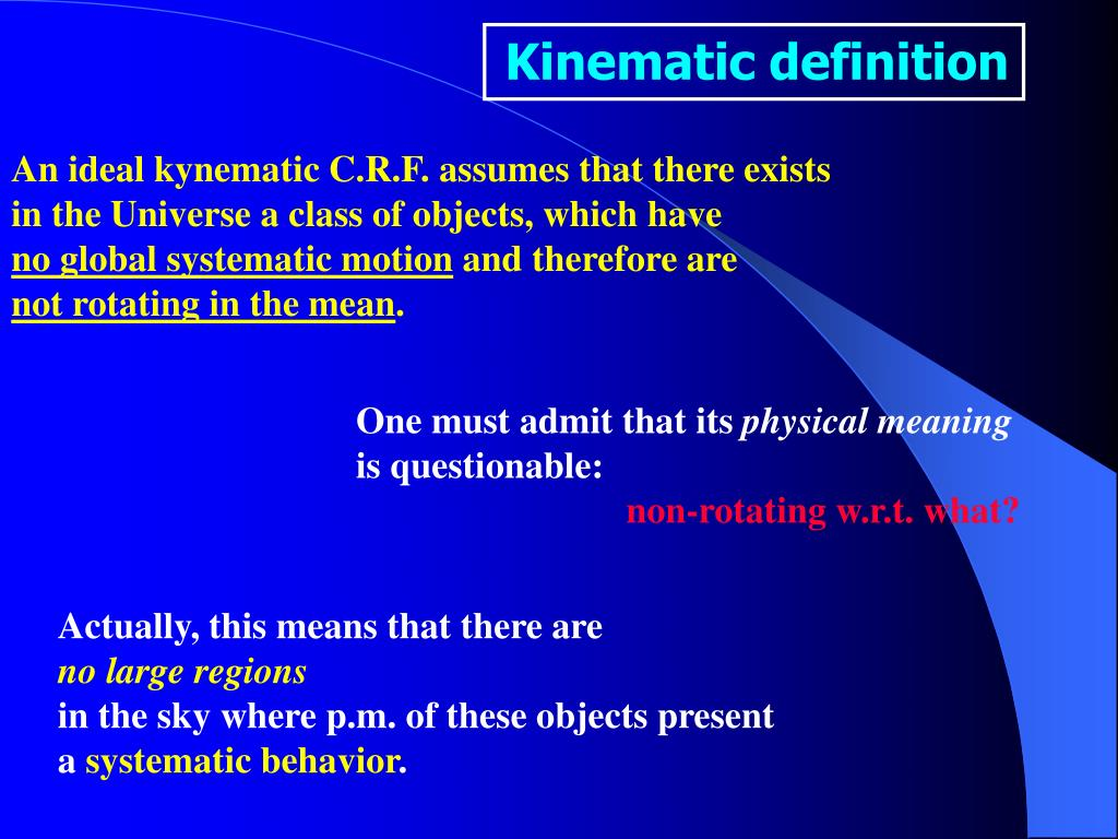 Kinematic definition